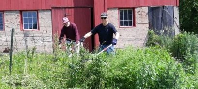 Volunteers Sten Caspersson and Vic Herson cutting weeds in front of the barn at Hawk Hill Farm