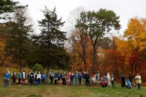 Photograph of group of hikers in Bloomfield's Martha Wilcox Park