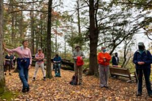 Hikers at the scenic overlook on the New England National Scenic Trail in Bloomfield's Martha Wilcox Park