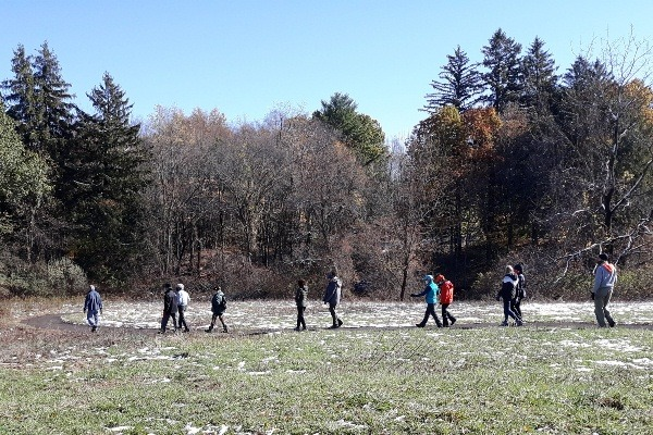 Photograph of hikers in Bloomfield's LaSalette Open Space during Halloween Hike